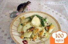 Фото рецепта: «Отварной картофель с луком пореем и грибами»