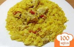 Фото рецепта: «Рис тушеный с курицей и овощами»