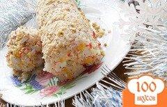 Фото рецепта: «Крабовый салат рулетом»
