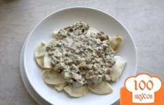 Фото рецепта: «Вареники з картофелем и грибной мачанкой»