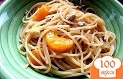 Фото рецепта: «Спагетти с голубым сыром и мандаринами»