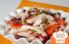 Фото рецепта: «Салат из курицы с рисом и фасолью»