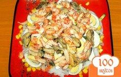 Фото рецепта: «Салат из мидий и раковых шеек»