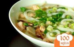 Фото рецепта: «Холодный суп из лосося с луком-пореем»