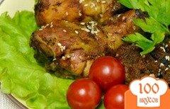 Фото рецепта: «Куриные ножки, запеченные с черным хлебом»
