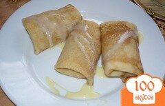 Фото рецепта: «Блины с заварным кремом и ананасом»