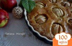 """Фото рецепта: «Открытый миндальный пирог """"Яблочко""""»"""