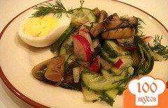 Фото рецепта: «Салат с жареными грибами и редисом»