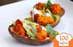 Фото рецепта: «Картофельные лодочки с курицей»