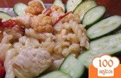 Фото рецепта: «Макаронны с тушеными овощами и курицей»