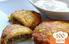 Фото рецепта: «Драники картофельные с фаршем»