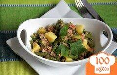 Фото рецепта: «Ensalada de verano Салат из спаржевой фасоли, картофеля, тунца»