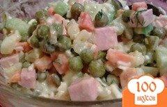 Фото рецепта: «Салат овощной с колбасой»