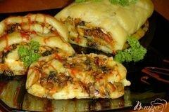 Фото рецепта: «Постный картофельный рулет с грибами и овощами»