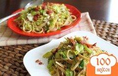 Фото рецепта: «Паста с брюссельской капустой, беконом и помидорами»