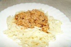 """Фото рецепта: «Спагетти с томатно-мясным соусом """"Болонез""""»"""