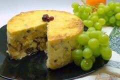 Фото рецепта: «Паста торт или запеканка из макарон с творогом и фруктами.»