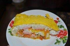 Фото рецепта: «Яичный рулет в виде суши»