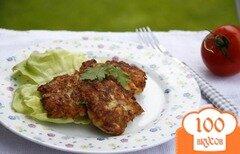 Фото рецепта: «Оладьи с мясом курицы и цуккини»