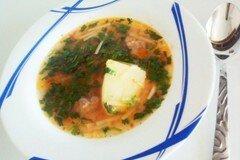 Фото рецепта: «Суп с овощами и пастой лингвини»