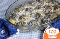Фото рецепта: «Ленивые вареники, запечённые в сметанно-маковой заливке»