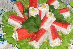 Фото рецепта: «Крабовые палочки, фаршированные креветками»