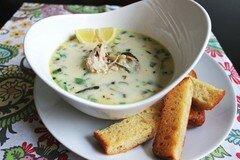 Фото рецепта: «Куриный суп с грибами и пастой орзо»