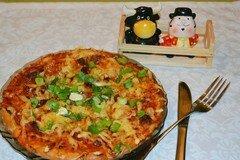 Фото рецепта: «Пицца на сдобном дрожжевом сладком тесте с ветчиной и колбасой»