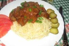 Фото рецепта: «Куриная печень с баклажанами в соусе»