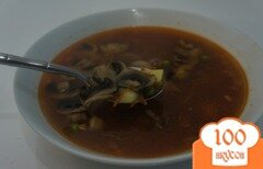 Фото рецепта: «Сытный супчик с грибами и говядиной»