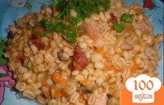 Фото рецепта: «Перловка с ветчиной, копчеными колбасками и грибами»