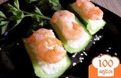 Фото рецепта: «Роллы с креветками в огурцах»