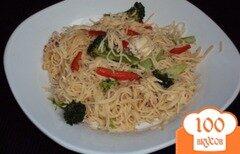 Фото рецепта: «Паста с курицей и арахисовым соусом по-тайски»
