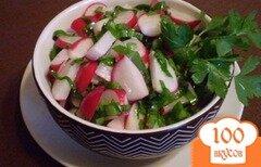 Фото рецепта: «Салат из редиса с петрушкой и черемшой»