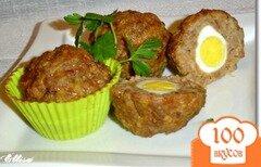 Фото рецепта: «Маффины мясные с перепелиными яйцами»