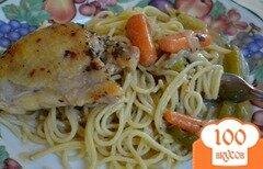 Фото рецепта: «Куриные бедрышки в пакете с овощами»