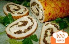Фото рецепта: «Рулет мясной с грибами, сыром и каперсами»