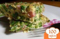 Фото рецепта: «Фриттата с зелёным горошком и ветчиной в духовке.»