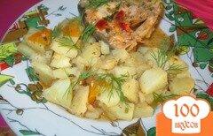 Фото рецепта: «Картошка с горбушей, тушеная в казане»