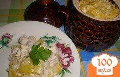 Фото рецепта: «Картошка с курицей в горшочках»