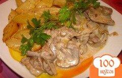 Фото рецепта: «Маслята в сметане с гарниром из печеного картофеля»