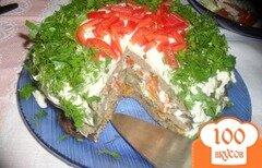 Фото рецепта: «Печеночный торт с овощами»