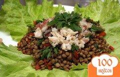 Фото рецепта: «Салат из чечевицы из копченной рыбой»
