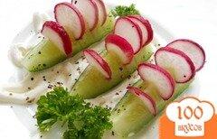 Фото рецепта: «Оригинальная закуска из огурцов и редиса»
