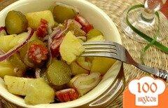 Фото рецепта: «Картофельный салат с селянской колбаской»