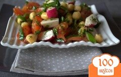 Фото рецепта: «Овощной салат с нутом и зеленью»