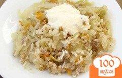 Фото рецепта: «Тушеная капуста с мясом и рисом»