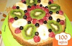 Фото рецепта: «Простой бисквитный торт с фруктами»