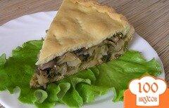 Фото рецепта: «Пирог c капустой, грибами и зеленым луком»