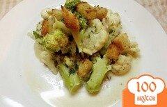 Фото рецепта: «Брокколи и цветная капуста тушеные в сметане»
